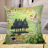 Winnie the Pooh Hundred Acre Wood on Square Pillow Cover