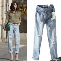 Ripped Holes Vintage Weathered Pants Jeans Cropped Pants [4919019140]