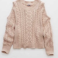 Aerie Cold Shoulder Sweater, Pretty in Pink