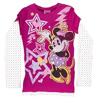 Minnie Mouse - Electro Minnie Girls Youth 2Fer Long Sleeve T-Shirt
