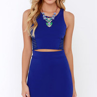 Beauty Unveiled Royal Blue Bodycon Two-Piece Dress