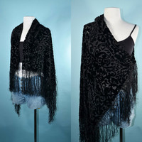 Vintage 90s Black Velvet Burnout Stevie Boho Gypsy Hippie Goth Scarf Shawl Wrap with Fringe