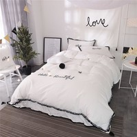 Cool 4/6-Pieces 100% Cotton Luxury Bedding Set Embroidery Bed Set King Queen full twin Bed Linens Tassels Duvet Cover Bed SkirtAT_93_12