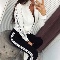 GIVENCHY Fashion Women Long Sleeve Top Pants Trousers Set Two-Piece