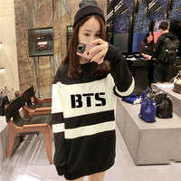 2016 NEW kpop bts Bangtan Boys womem Autumn Mixed colors black and white Long section Hoodies k-pop bts Korean style Sweatshirts