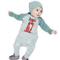 New Arrival 2pcs Fashion Babies Round Collar Fox Printed Cotton Top Pants with Hat  Little Infant Baby Boys Clothing Sets