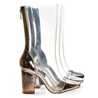 Betisa22 Rose Gold Lucite Clear Transparent Over Ankle Bootie w Chunky Block Heel, PVC