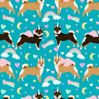 shiba inu dog unicorn fabric rainbows pastel hearts cute dogs fabric - peacock giftwrap - petfriendly - Spoonflower