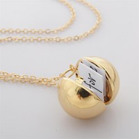 Handmade Minimalism Secret Message Ball Locket Necklace Pendant Friendship Best Friend Holiday BFF Gifts Couples Necklace