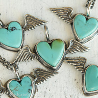 Turquoise Heart Necklace with Wings