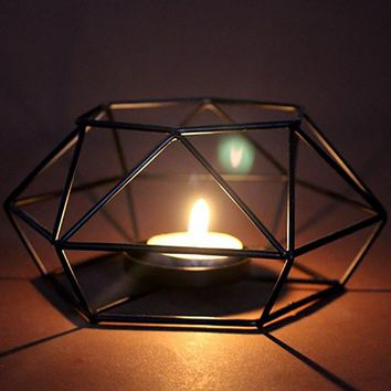 Home Ornaments Geometric Candlestick Wall Candle Holder Sconce Matching Tealight Steel Minimalist