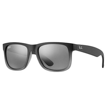 Cheap Ray Ban RB4165 852/88 Justin Sunglasses Grey Silver Gradient Mirror Lens 54mm outlet