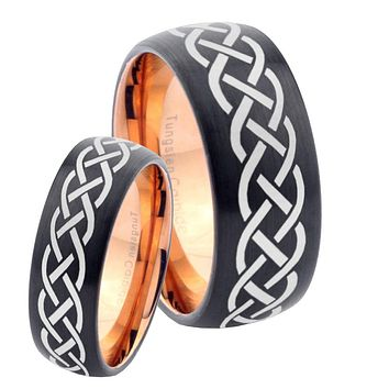 His Hers Celtic Knots Dome Tungsten Rose Gold Mens Wedding Band Set