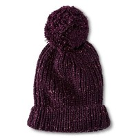 Women's Solid Knit Slouchy Beanie Hat with Pom