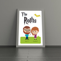 11x14 Harry Potter Custom Illustration Portrait - Personalized Cartoon Wizards