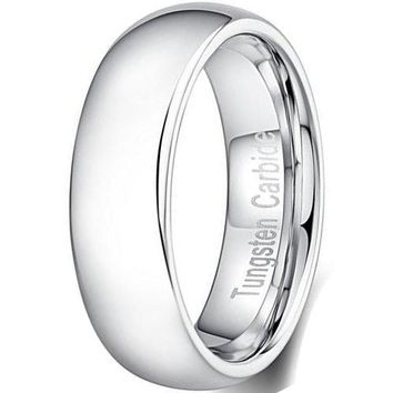 CERTIFIED 6mm Tungsten Carbide Ring Chrome Plated Simple Style Thin Wedding Band