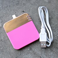 Back Me Up! Mobile Charger in Colorblock Neon Pink + Gold