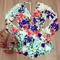 Floral Lace-Paneled Plunging Neck Romper