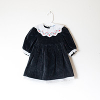 Vintage 80s Dress | Black Velvet Dress Girls Toddler Dress Baby Girl Retro Baby Clothes Hipster Kids Children Polly Flinders Dress Polka Dot