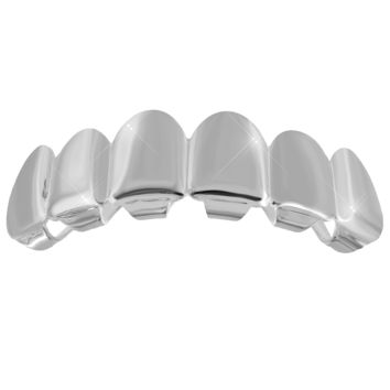 14k White Gold Finish Top Teeth Mouth Grillz Plain