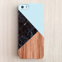 iPhone 6 Case, iPhone 6 Plus Case, iPhone 5S Case, iPhone 6, iPhone 5C Case, iPhone 4S Case, iPhone 4 Case - Black Marble Color Block Mint