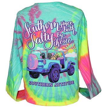 Southern Attitude Salty By Choice Jeep Tie Dye Long Sleeve T-Shirt