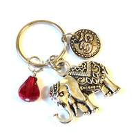 Sacred Elephant Keychain Bag Charm Om Meditation Buddhism Yoga Accessories Red Indie Party Favors Stocking Stuffer Christmas Under 20