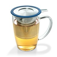 Glass Tea Mug with Stainless Steel Infuser (Strainer) & Lid