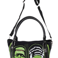 Goth Horror Monster Green Frankenstein and Bride Shoulder Bag