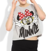 Short Sleeve Disney Crop Top with Loose Fit and Minnie Mouse Screen