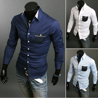 Contrast Patched Pocket Button Down Shirt