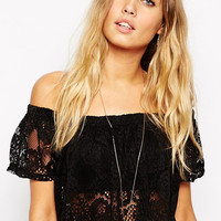 Black Elastic Off-Shoulder Lace Crop Top