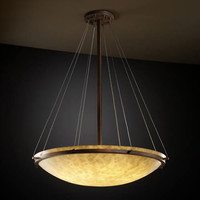 Justice Design Group CLD-9697-35-DBRZ-LED-6000 Clouds 48-Inch Round Bowl 6000 Lumen LED Pendant with Ring