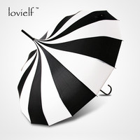 Hot sale women Big large long handle black and white gothic classical color home decoration windproof cool tower pagoda umbrella