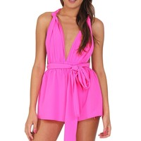 Hot Pink Multi-Way Romper at Blush Boutique Miami - ShopBlush.com