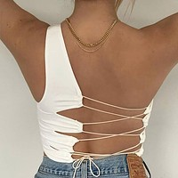 Sexy Hollow Backless Tank Top Women Club Party Wear Camisole Femme Crop Tops Slim Soft Vest Tee