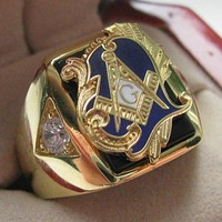 Zirconia Deluxe Motif Blue Masonic Copper Ring