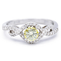 5mm Canary Yellow Round Moissanite 14K White Gold 1/4 Infinity Shank MicroPave Diamond Ring