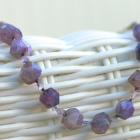 Purple Swiftfire -unique gift jewellery; sardonyx, amethyst handmade beaded semiprecious chunky necklace & earrings, natural gemstones
