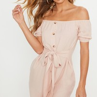 Dusty Pink Bardot Tortoise Shell Button Tie Waist Shift Dress