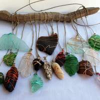 Beach Glass Sun Catcher Windchime~Bohemian Style~Driftwood Mobile-Seaglass Art~Black Stone~Genuine Surf Tumbled~Lake Erie