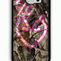 Samsung Galaxy S6 Case - Rubber (TPU) Cover with Love Browning Deer Camo 2 Rubber case Design