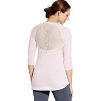 CALIA by Carrie Underwood Women's Lace Back Three-Quarter Shirt