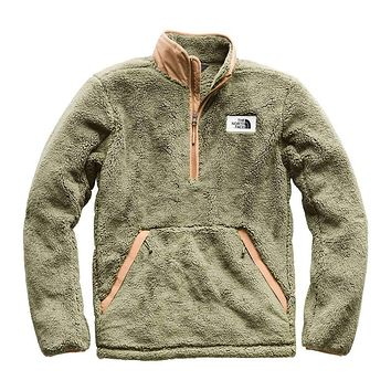 Men's Campshire Sherpa Fleece Pullover in Four Leaf Clover & Cargo Khaki by The North Face