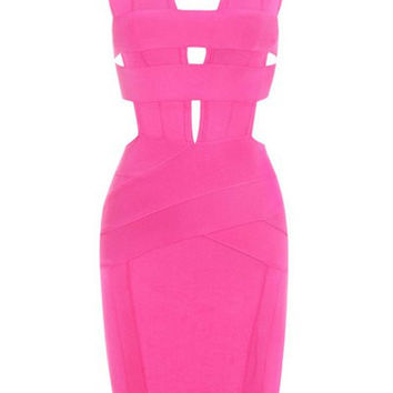 Pink Cut Out Sleeveless Bodycon Dress