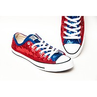 Two Tone Red Sapphire Blue Low Top Sneakers