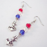 Nautical Anchor Charm Crystal Earrings Red White and Blue