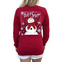 Southern Attitude Preppy Let It Snow Holiday Long Sleeve T-Shirt