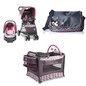 Disney Minnie Mouse Bowtique Baby Gear Bundle Stroller Travel System Play Yard Collection Set