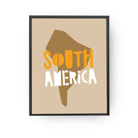 South America, Map Illustration, Classroom Decor, Nursery Art, Kids Print, Kids Education, Learning Map, Typography Poster, Map Wall Art
